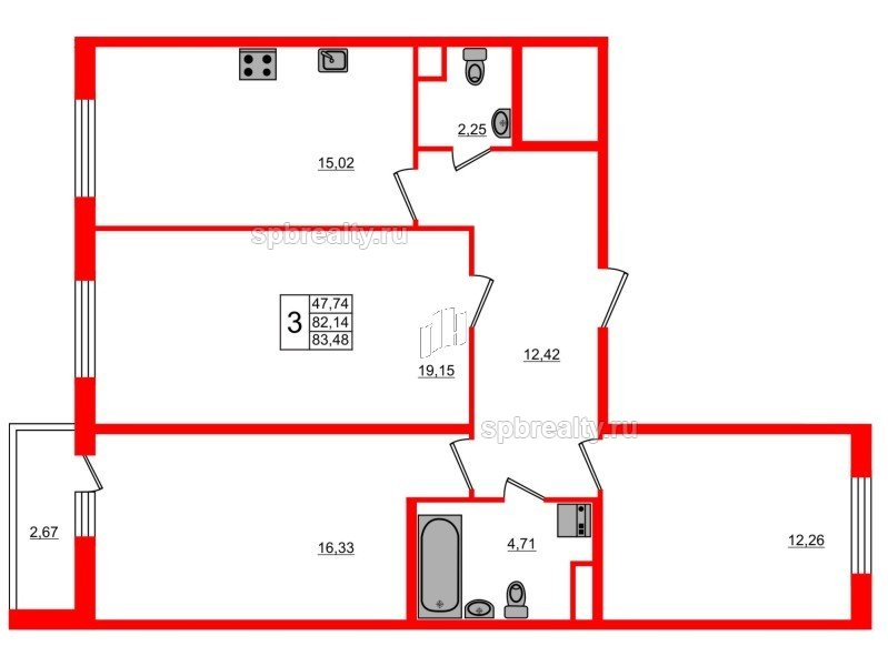 Планировка Трёхкомнатная квартира площадью 83.48 кв.м в ЖК «ЯСНО.ЯНИНО»