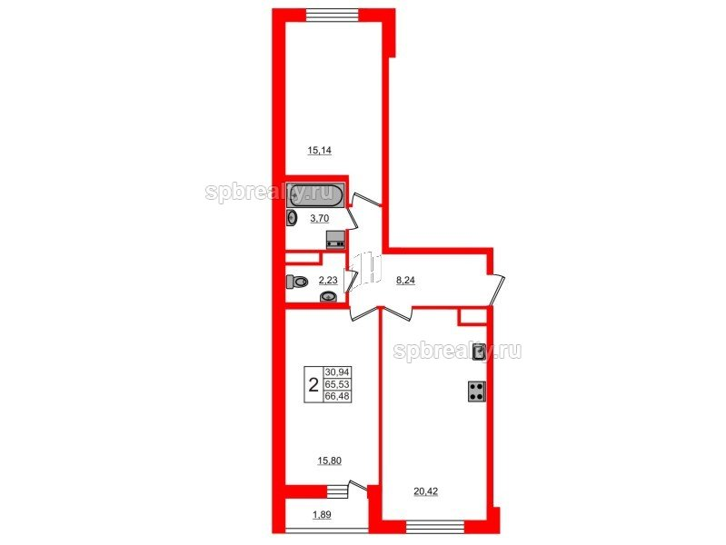 Планировка Двухкомнатная квартира площадью 66.48 кв.м в ЖК «ЯСНО.ЯНИНО»