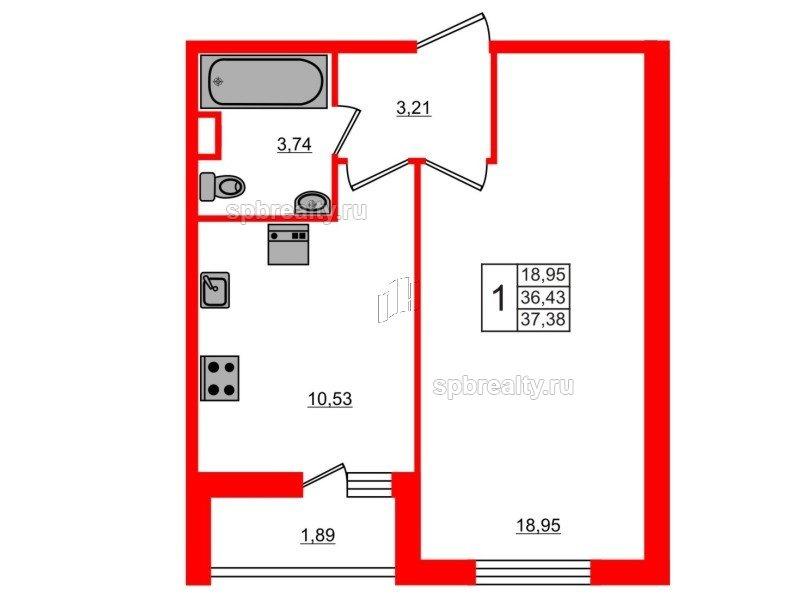 Планировка Однокомнатная квартира площадью 37.38 кв.м в ЖК «ЯСНО.ЯНИНО»