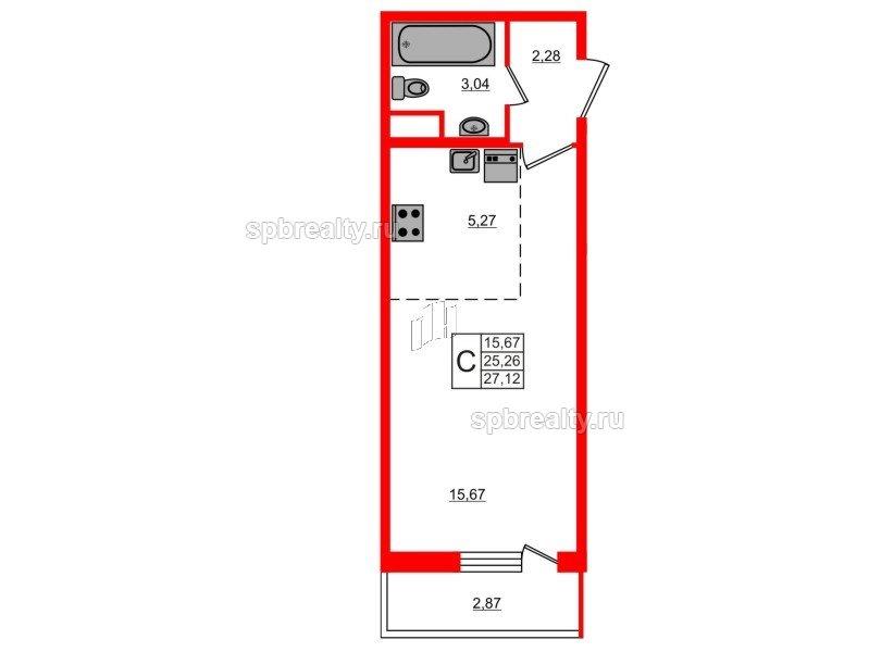 Планировка Студия площадью 27.12 кв.м в ЖК «ЯСНО.ЯНИНО»