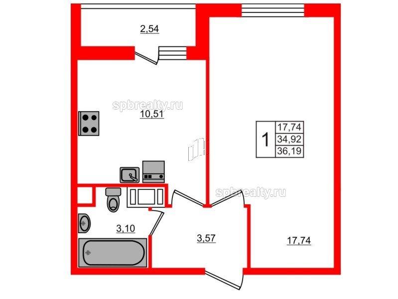 Планировка Однокомнатная квартира площадью 36.19 кв.м в ЖК «ЯСНО.ЯНИНО»