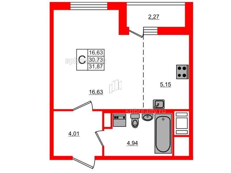 Планировка Студия площадью 31.87 кв.м в ЖК «ЯСНО.ЯНИНО»