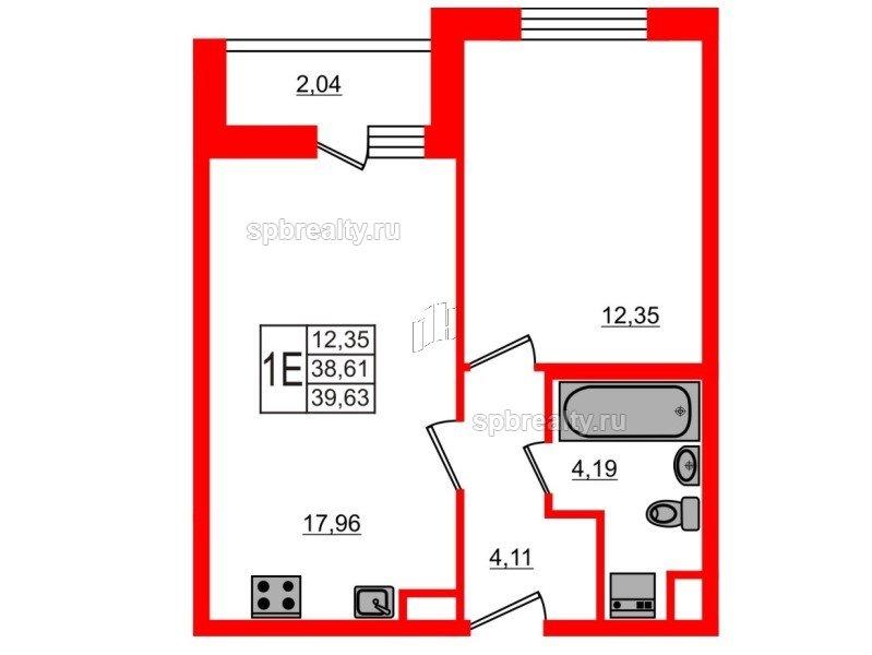 Планировка Однокомнатная квартира площадью 39.63 кв.м в ЖК «ЯСНО.ЯНИНО»