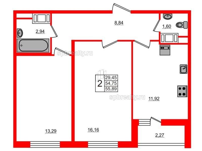 Планировка Двухкомнатная квартира площадью 55.89 кв.м в ЖК «ЯСНО.ЯНИНО»