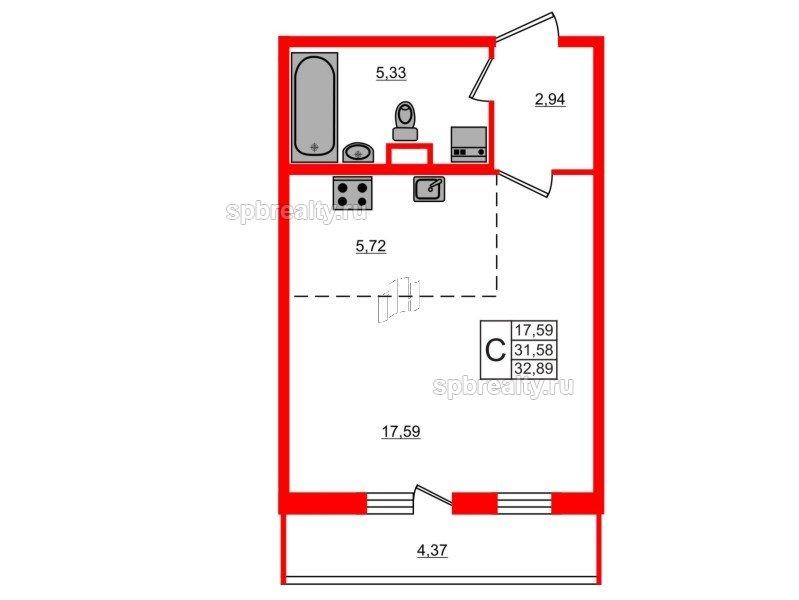 Планировка Студия площадью 32.89 кв.м в ЖК «ЯСНО.ЯНИНО»