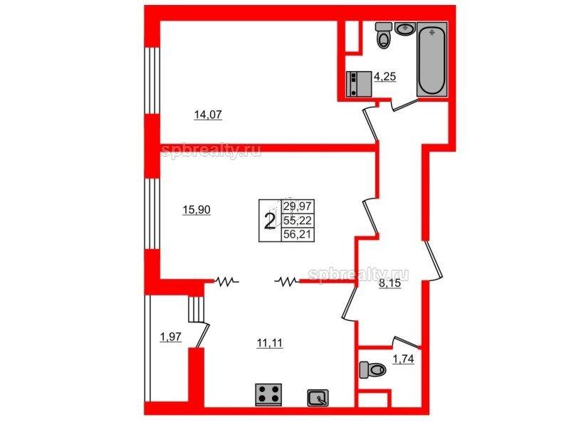 Планировка Двухкомнатная квартира площадью 56.21 кв.м в ЖК «ЯСНО.ЯНИНО»