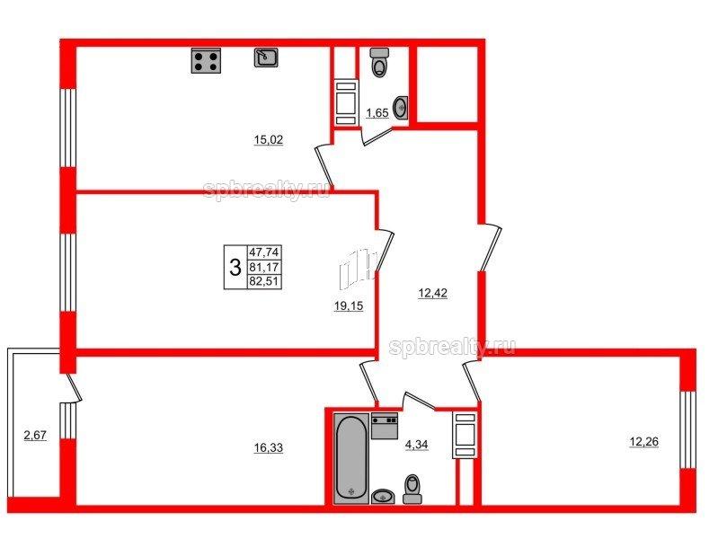 Планировка Трёхкомнатная квартира площадью 82.51 кв.м в ЖК «ЯСНО.ЯНИНО»