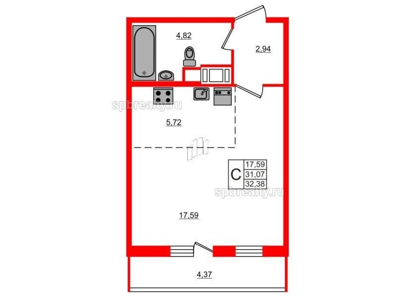 Планировка Студия площадью 32.38 кв.м в ЖК «ЯСНО.ЯНИНО»