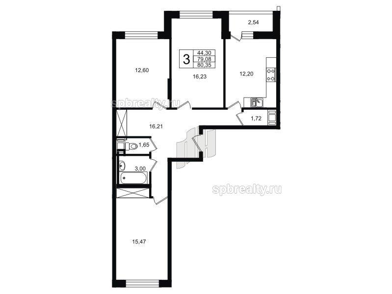 Планировка Трёхкомнатная квартира площадью 80.35 кв.м в ЖК «ЯСНО.ЯНИНО»