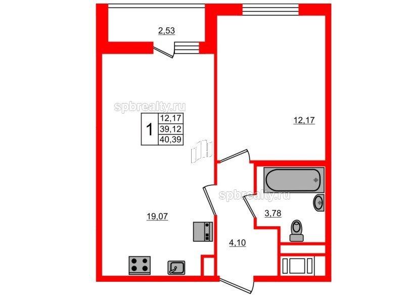 Планировка Однокомнатная квартира площадью 40.39 кв.м в ЖК «ЯСНО.ЯНИНО»