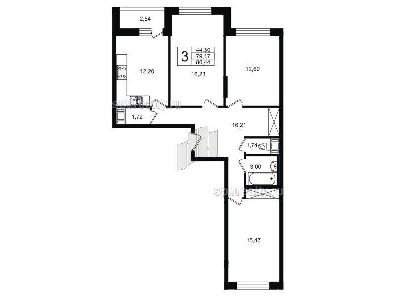 Планировка Трёхкомнатная квартира площадью 80.44 кв.м в ЖК «ЯСНО.ЯНИНО»